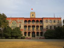 The teaching building of the red brick wall of Suzhou University. stock photography