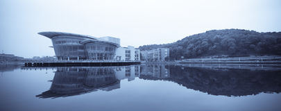 Teaching building and the reflection. Panoramic view of the teaching building and the reflection in a university,China Royalty Free Stock Images