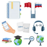 Teaching Chinese in Russia. Translation of the Chinese language.Interpreter ang translator icon in set collection on Stock Photo