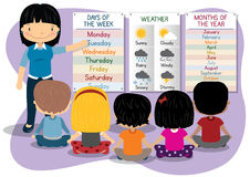 Teaching Days Months Weather. Illustration of kids learning about Days of the week, months of the year and the weather stock illustration