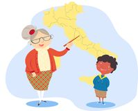 Teaching geography. Vector illustration of primary school teacher and pupil Stock Images