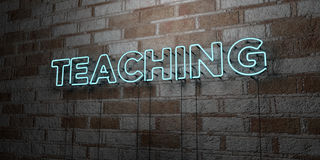 TEACHING - Glowing Neon Sign on stonework wall - 3D rendered royalty free stock illustration. Can be used for online banner ads and direct mailers Stock Images