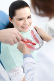 Teaching how to clean teeth correctly Royalty Free Stock Images