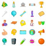 Teaching icons set, cartoon style Stock Photos