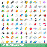 100 teaching icons set, isometric 3d style. 100 teaching icons set in isometric 3d style for any design vector illustration Royalty Free Stock Photos
