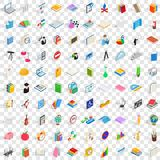 100 teaching icons set, isometric 3d style. 100 teaching icons set in isometric 3d style for any design vector illustration Stock Image