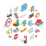 Teaching icons set, isometric style. Teaching icons set. Isometric set of 25 teaching vector icons for web isolated on white background Stock Photography