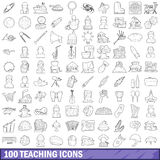 100 teaching icons set, outline style. 100 teaching icons set in outline style for any design vector illustration stock illustration