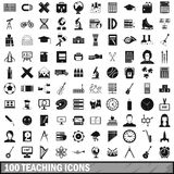 100 teaching icons set, simple style. 100 teaching icons set in simple style for any design vector illustration Stock Image