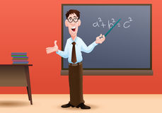 Teaching. Illustration of an male teacher at work in a classroom of a school Royalty Free Stock Image