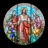 Jesus blessing children. Teaching of Jesus about little children,  Text: Come unto me, all ye that labour and are heavy laden, and I will give you rest. Ancient Stock Photos