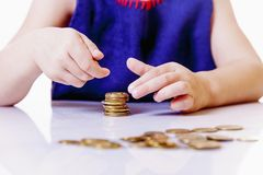 Teaching Kid Business. Start Financial Education Of Cute Little Royalty Free Stock Images