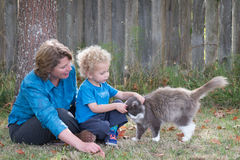 Teaching Kindness. To animals is an important parental lesson. Here, a mother watches as her young son tenderly pets their cat who rewards him with a head bump Royalty Free Stock Photo