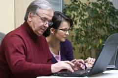Teaching laptop usage stock images