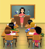 Teaching lesson in classroom. Vector illustration of a classroom with teacher and pupils during lesson time Stock Photography