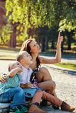 Teaching mother sons generations amusement Stock Image