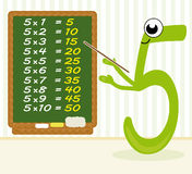 Teaching multiplication - number 5. Chalkboard with the multiplication results for number five Royalty Free Stock Photos