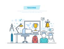Teaching and online education. Teaching and online education. Business training, internet courses, consulting, distance e-learning and e-books, webinar Stock Images