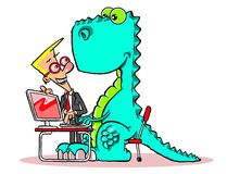Teaching seniors to use computers. Comic illustration of green dinosaur representing an elderly person, sitting at a desk with computer on it and character , as Stock Photo