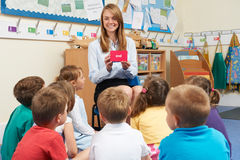 Teaching Showing Flash Cards To Elementary School Class Royalty Free Stock Photo