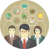 Teaching Staff. Conceptual illustration of a teaching staff with icons of school subjects Royalty Free Stock Photos