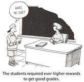 Teaching. The students required ever higher rewards to get good grades Stock Images