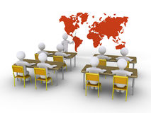 Teaching students to succeed. 3d teacher is showing the students the world map Royalty Free Stock Images