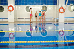 Teaching swimmers Royalty Free Stock Photo
