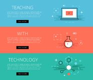 Teaching With Technology. Vector banners set. Flat line design web banners for educational sites. Vector illustration concept for web design with call to action Royalty Free Stock Photography