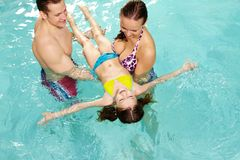Teaching to swim Stock Image