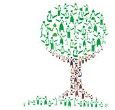 Teaching tree. Illustration of a tree made of teachers Royalty Free Stock Photography