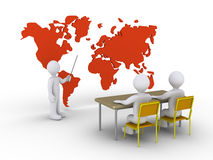 Teaching two students to succeed. 3d teacher is showing two students the world map Royalty Free Stock Image