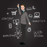 Teaching web design analytics branding and content marketing. Vector Royalty Free Stock Photography