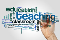 Teaching word cloud. Concept on grey background stock photos