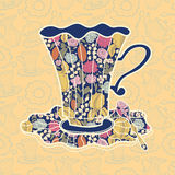 Teacup background. Tea time background. Vector illustration of teacup on yellow background Royalty Free Stock Photography