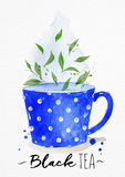 Teacup black tea. Watercolor teacup with black tea drawing on watercolor paper background Royalty Free Stock Photography