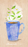 Teacup chamomile tea kraft. Watercolor teacup with chamomile tea drawing on kraft paper background Royalty Free Stock Photography