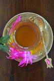 Teacup and Christmas cactus. Turkish teacup with spoons and Christmas cactus Royalty Free Stock Photo