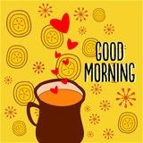 Teacup Creative. Conceptual creative, which shows tea in a teacup; expressing love for the consumer and wishing 'Good Morning'. Creative can be used by tea royalty free illustration