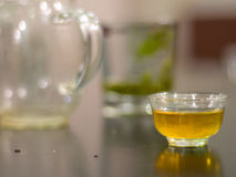Teacup filled with herbal tea. Glass teacup filled with herbal green tea. Tea is an essential part of life in East Asian countries, especially China Royalty Free Stock Photos
