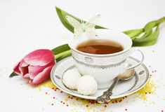 Teacup and flowers royalty free stock photography