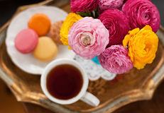 Teacup with flowers stock images