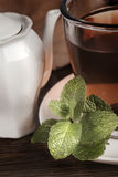 Teacup with fresh green tea Stock Photography
