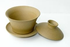 Teacup giallo del cinese dell'argilla Fotografia Stock