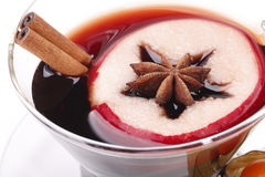 Teacup with glögg, anise, apple, physalis, and cinnamon Royalty Free Stock Photos