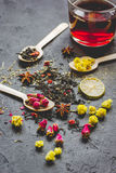 Teacup and herbs on dark stone background. Teacup and herbs on dark grey stone background Royalty Free Stock Image