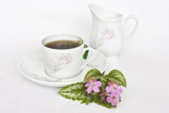 Teacup and jug. A white bone china teacup and milk jug decorated with pink carnations and small flowers, against a white background stock photography