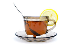 Teacup, lemon slice and some sugar pieces Stock Images