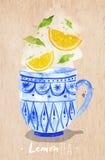 Teacup lemon tea kraft. Watercolor teacup with lemon tea drawing on kraft paper background Stock Photo