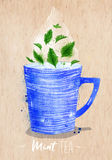 Teacup mint tea kraft. Watercolor teacup with mint tea drawing on kraft paper background Stock Photos